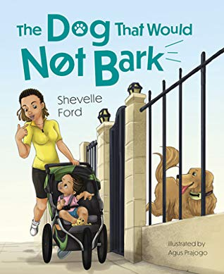 Book cover of mom pushing girl in stroller next to fenced in dog