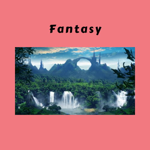"A pink box with ""Fantasy"" written and a fantasy view of a forest with mountains."