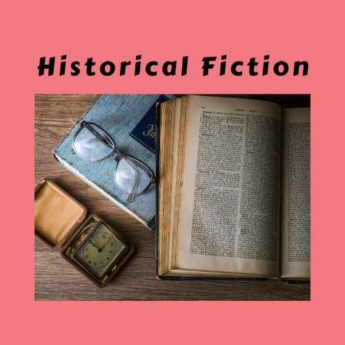 """Historical Fiction"" genre card with glasses and book phtoo"