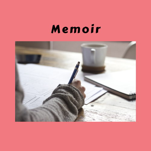 "Book Genre ""Memoir"" with person writing with pen"