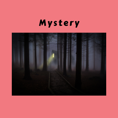 """Mystery"" Genre card with dark woods and light in the distance"