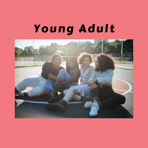 "Four young adults sitting together.  Text of ""Young Adults"""