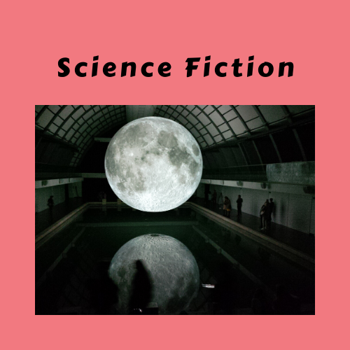 Copy of Science Fiction with pink background and oversized moon with reflection in water