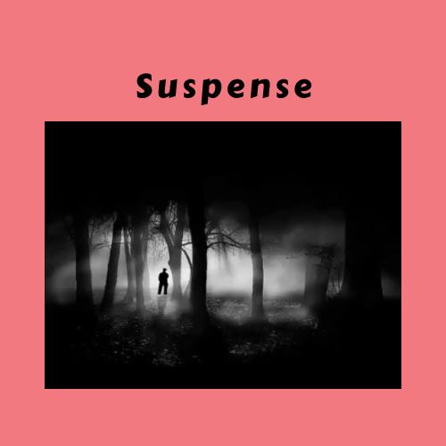 "Person in dark woods titled ""Suspense"""