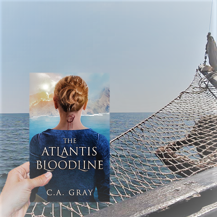 Book cover being held over bow of ship