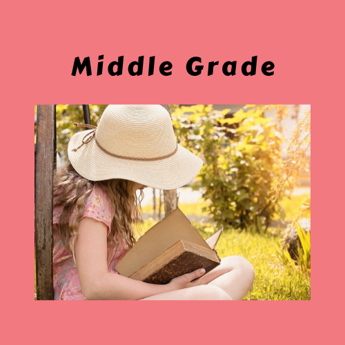 "Book Genre Block - ""Middle Grade"" with girl reading book"