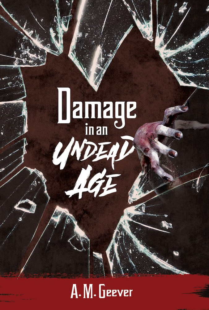 Damage in an Undead Age book cover - broken glass in the shape of a heart with zombie hand coming through.