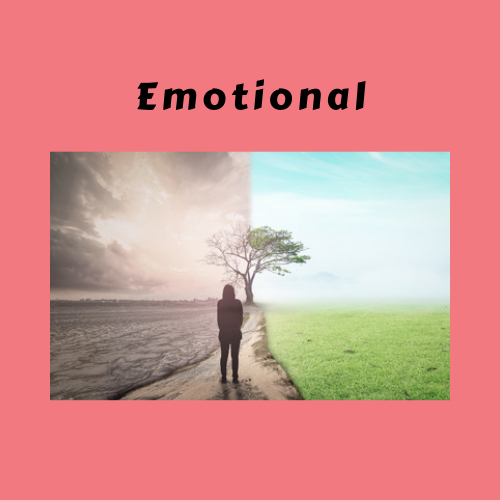 "Book Genre Block - ""Emotional"" Person standing between bright earth and desolate earth"