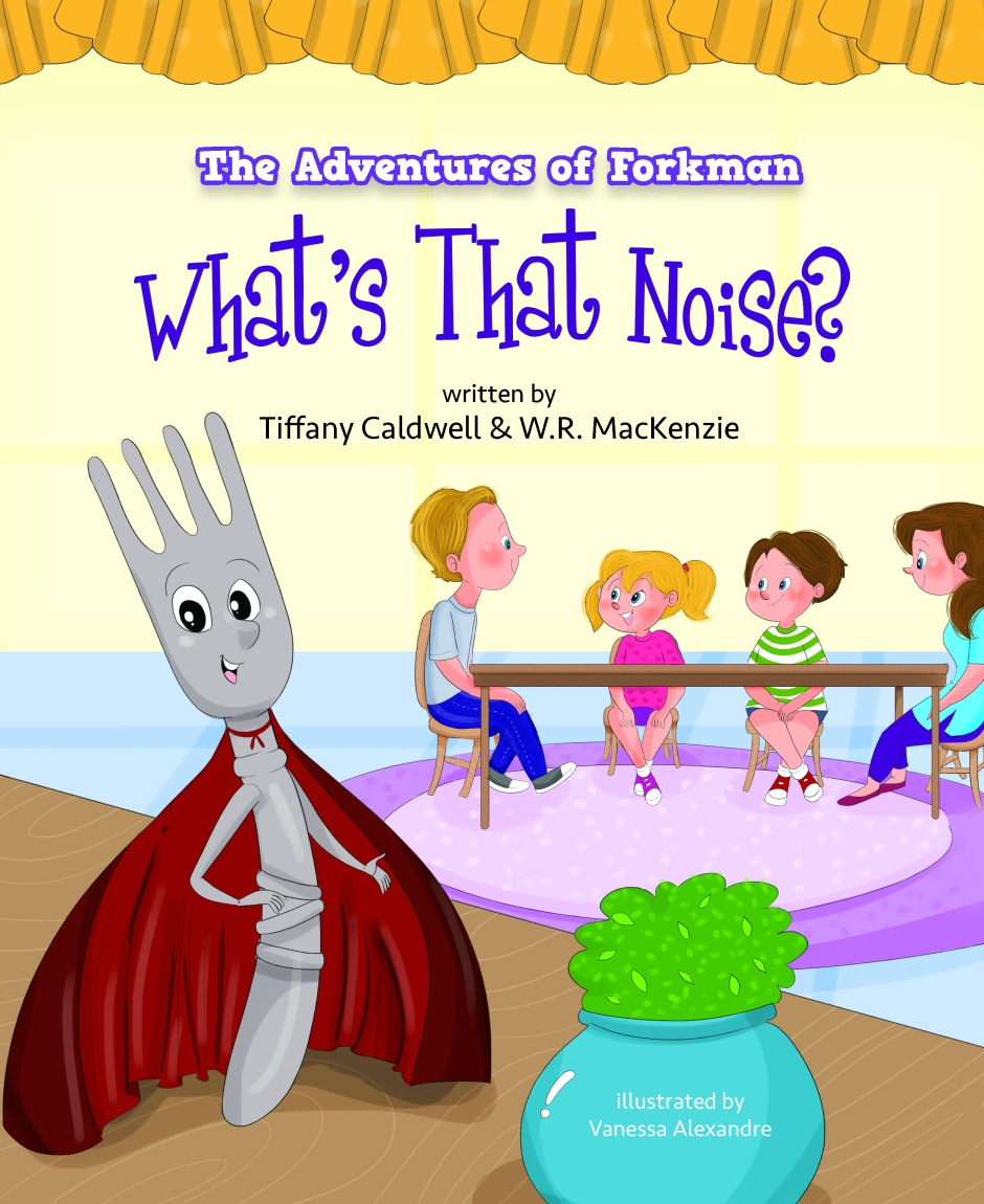 Book Cover with superhero fork and family at table