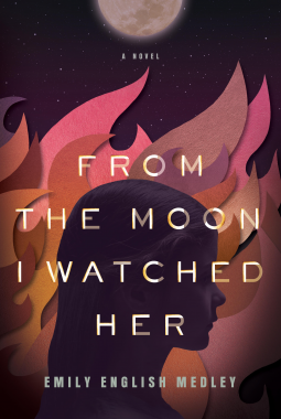 Profile of girl with flames behind and a moon at the top