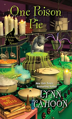 Book cover cat in kitchen with boiling magical pots
