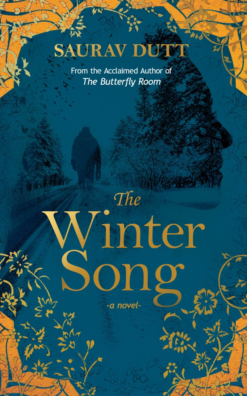 Book cover of winter road and person's profile and silhouette
