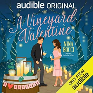 "Audible cover of ""A Vineyard Valentine"" with two people drinking wine"