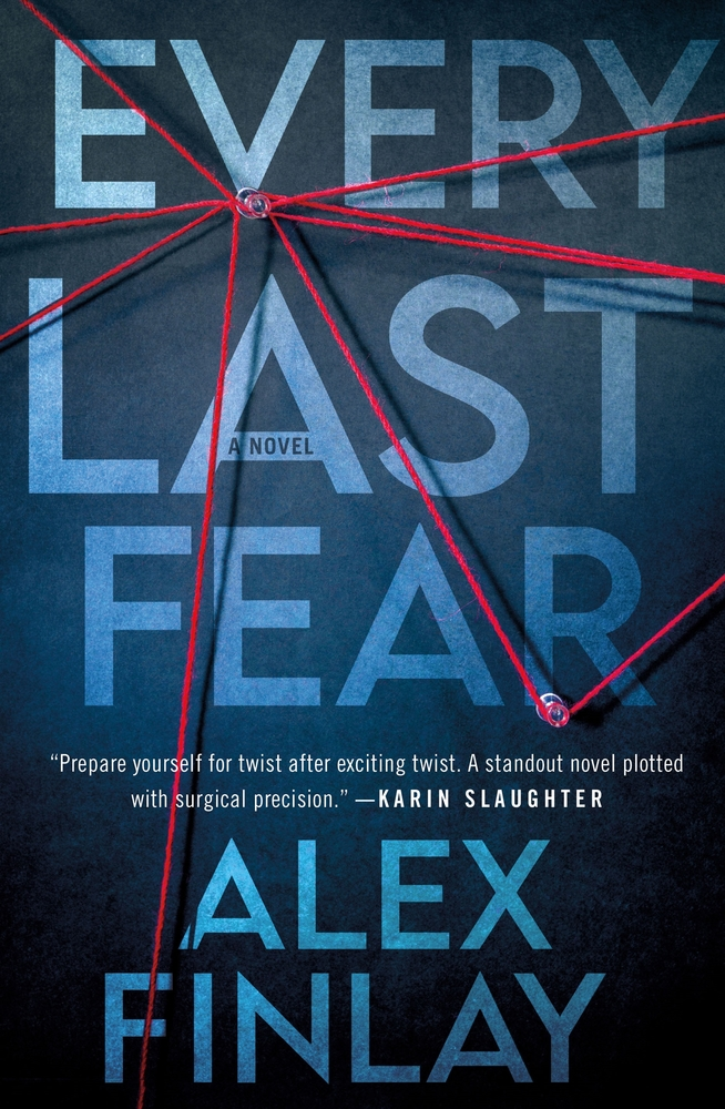 "Book cover ""Every Last Fear"" with red string on push pins"