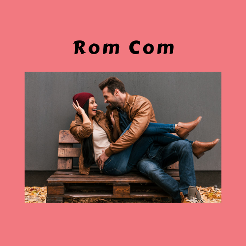"Book Genre Block - ""Rom Com"" couple on bench"