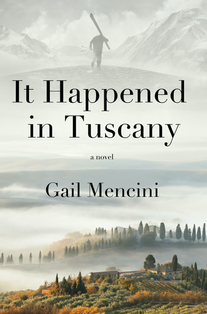 "book cover ""It Happened in Tuscany"" with foggy rolling hills"