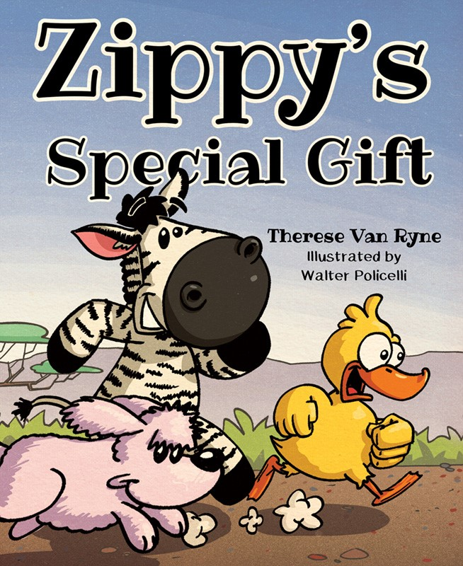 Book cover with zebra, duck, and dog running