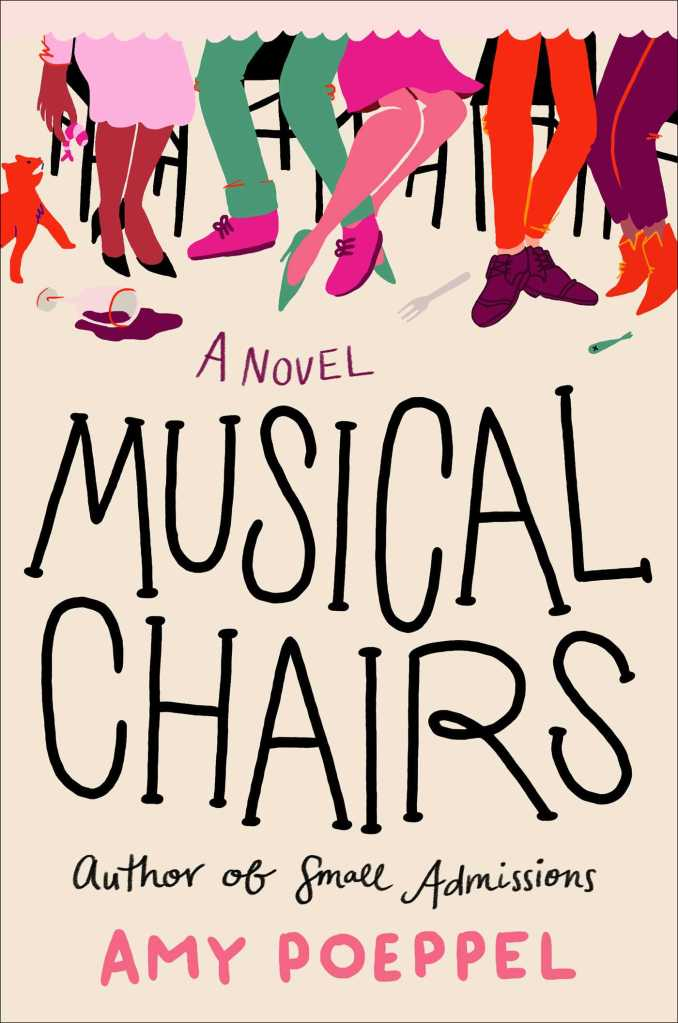 "Book Cover ""Musical Chairs"" with illustrated legs and feet on chairs"