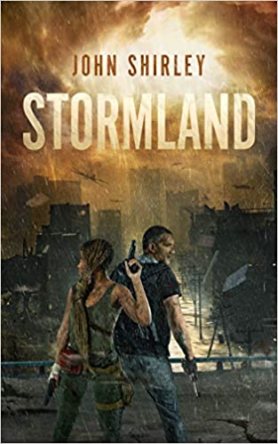 """Book Cover """"Stormland"""" with a woman and a man in front of a terrible storm in the city"""