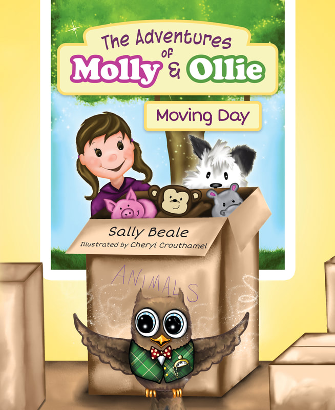 """Book cover of """"The Adventures of Molly and Ollie"""" of girl with moving box and stuffed animals"""