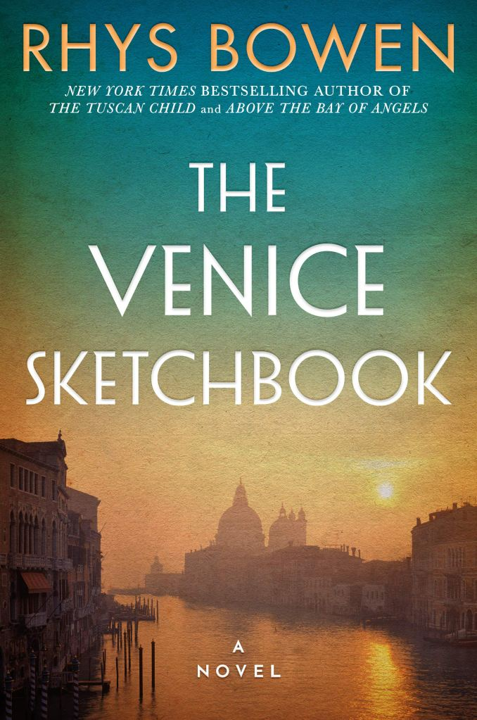 """Book Cover """"The Venice Sketchbook"""" with italian sunrise over city"""
