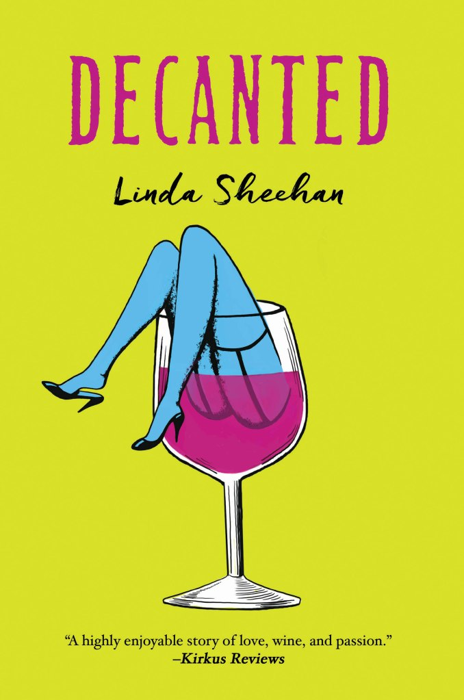 Book cover for Decanted with wine glass and legs coming out of top of glass