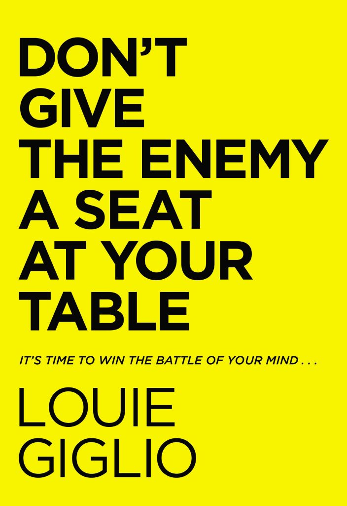 Book Cover: Don't Give the Enemy a seat at your table - Words on solid yellow background