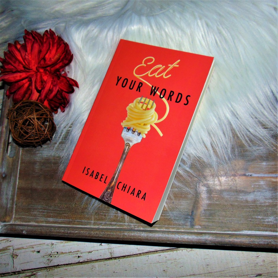 Eat Your Words Book on wooden tray with flower
