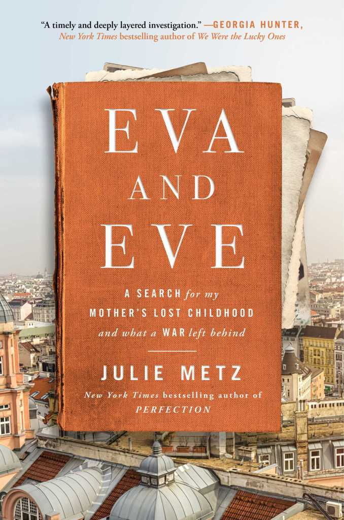 """Book Cover of """"Eva and Eve"""" with an old book in front of a city skyline"""