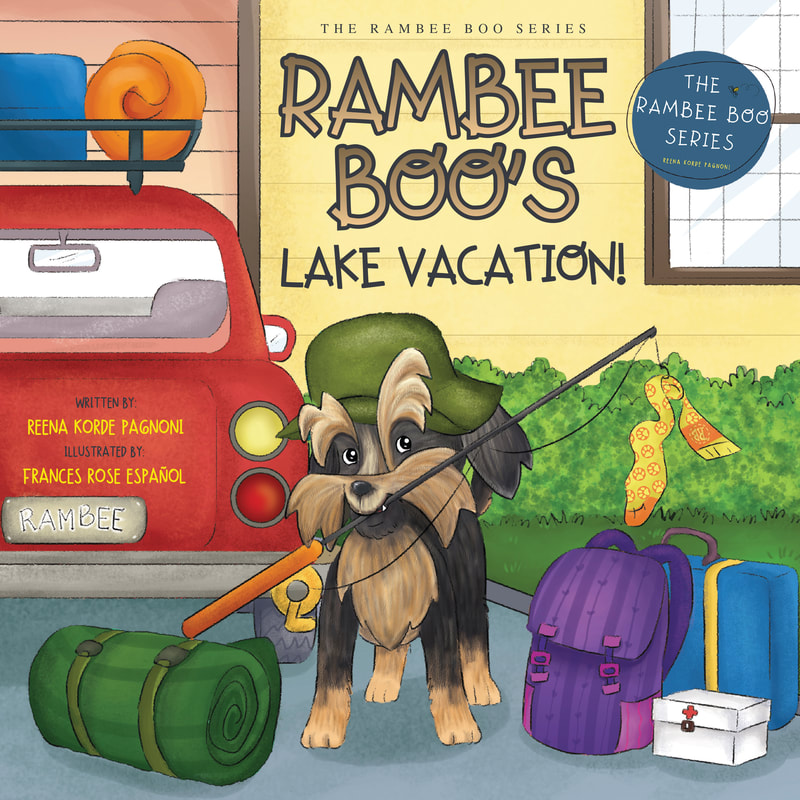Rambee Boos Lake Vacation with dog holding fishing pole in mouth in front of car and travel gear