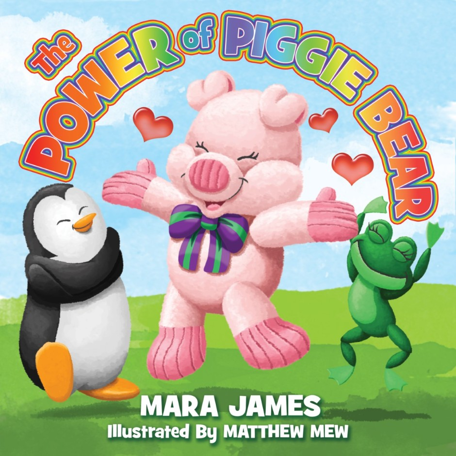 The Power of Piggie Bear book cover with a pig jumping, a penguin hugging itself, and a frog celebrating with arms in air
