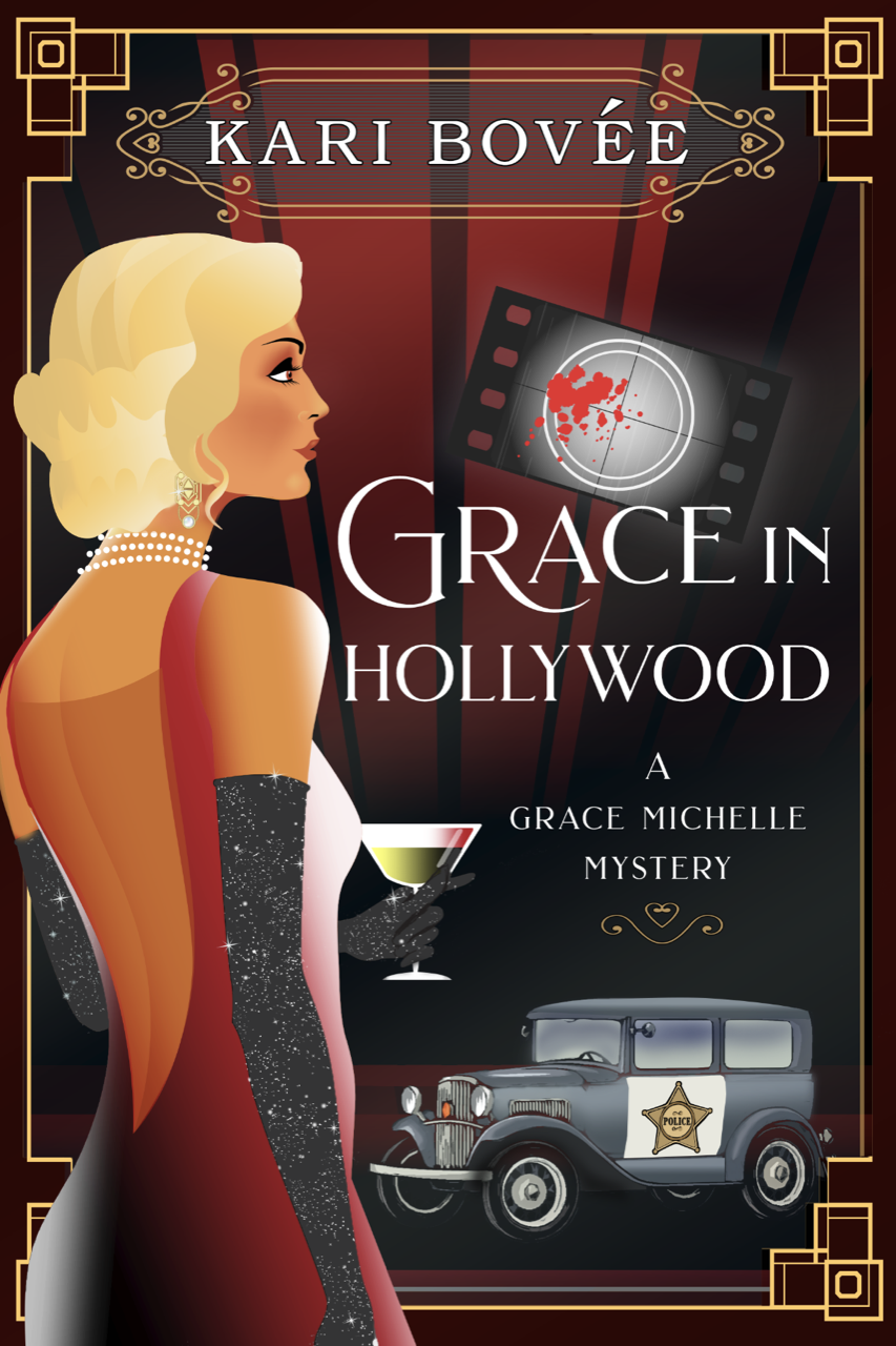 Grace in Hollywood book cover with 20's feel and girl in fancy dress with a Model T cop car