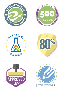 Netgalley Badges showing Netgalley Partner, 500+ reviewier, beta tester, 80%, approved and top reviewer