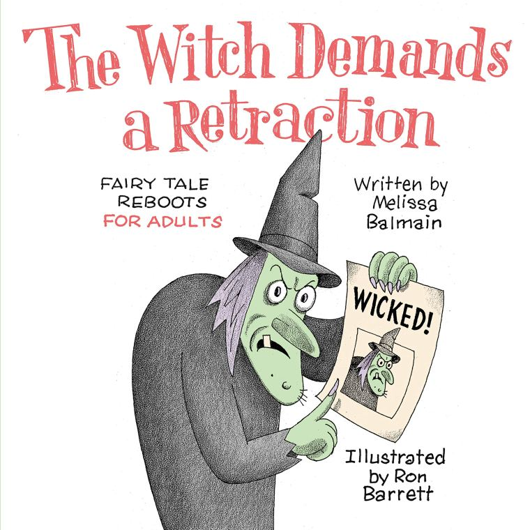 The Witch Demands a Retraction book cover with cartoon witch holding a sign that says wicked