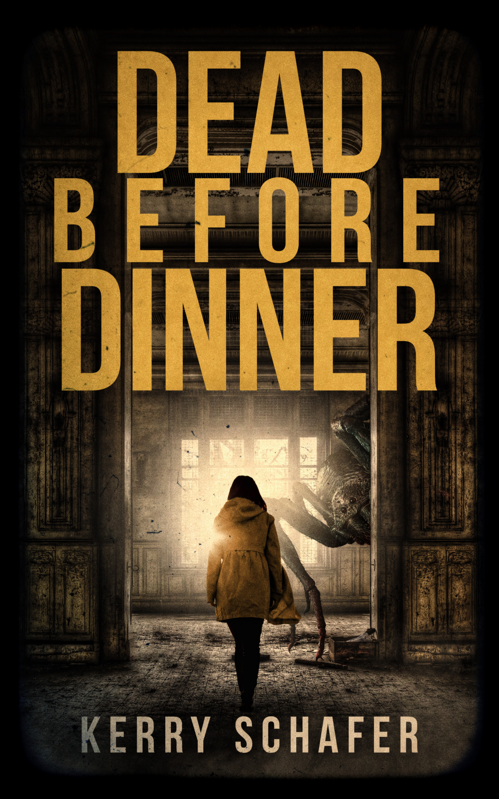 Dead before dinner book cover with woman walking into room with spider/monster