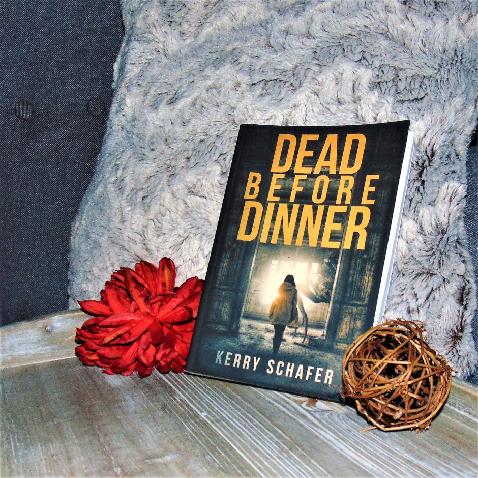 Dead Before Dinner book on wood tray with pillow