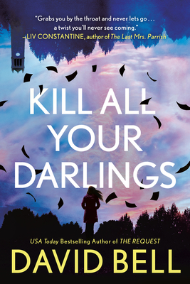 Kill all your darlings book cover girl with pages flying in air and upside down skyline