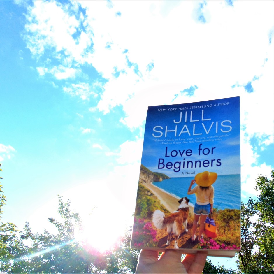 Love for Beginners book held to sky with sunlight