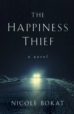 The Happiness Thief book cover - car lights on a dark road
