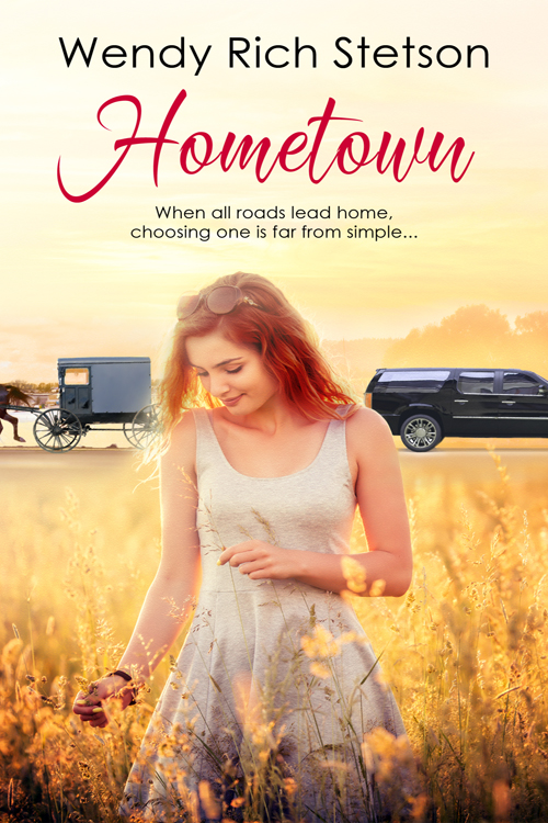 Hometown book cover of girl in wheat with amish buggy and black car in background