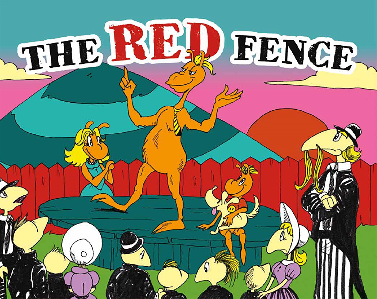 The Red Fence book cover with characters in front of red fence