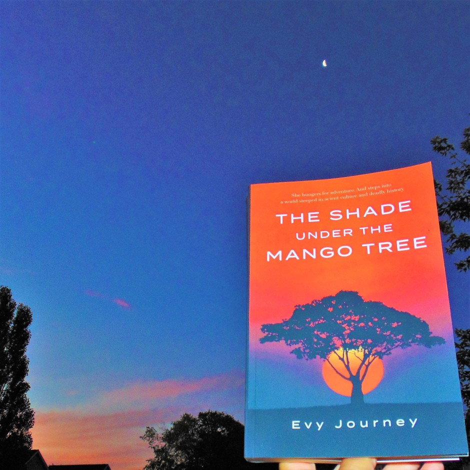 The Shade Under the Mango Tree book held up to unrise with moon visible