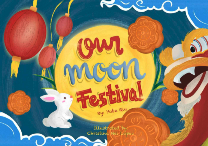 Our moon festival book cover with chinese dragon and rabbit