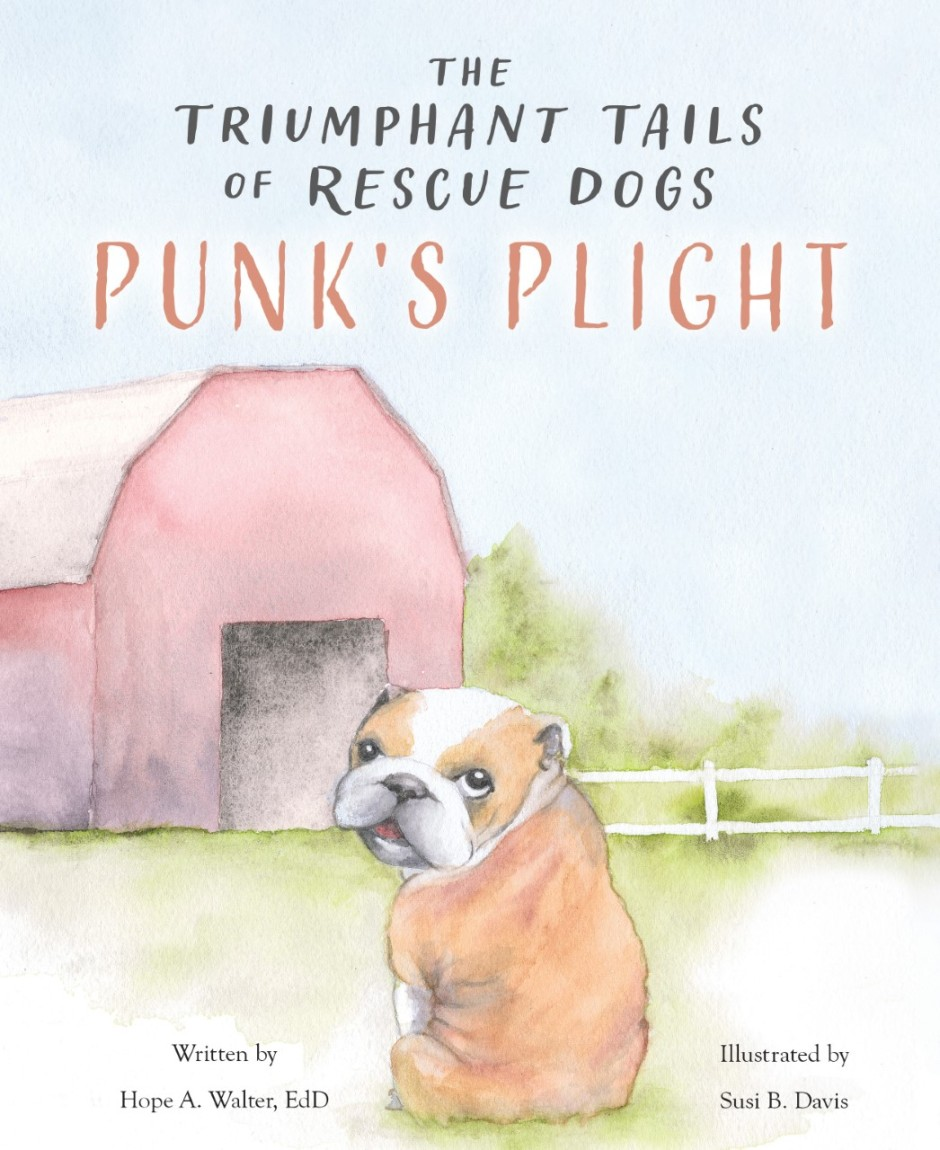 The Triumphant Tails of Rescue Dogs book cover with dog by barn